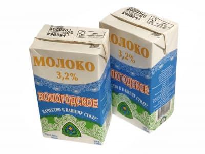 Молоко 3,2% 1,0л (Вологодское)