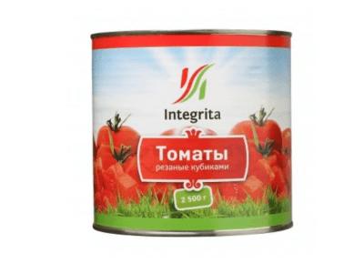 """Томаты резаные кубик в томатном соке """"Integrita"""" 2,5кг."""